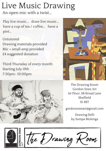Live Music Drawing flyer