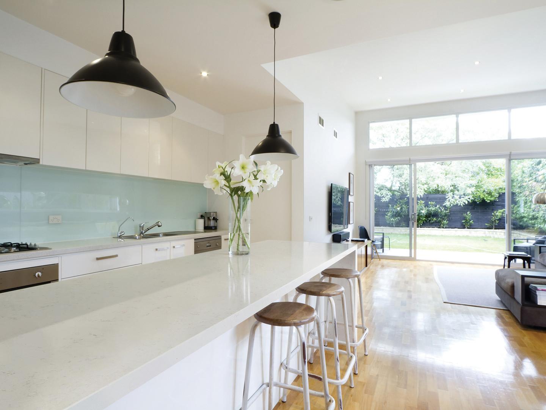 Napoli Modern White Kitchen with Long Island