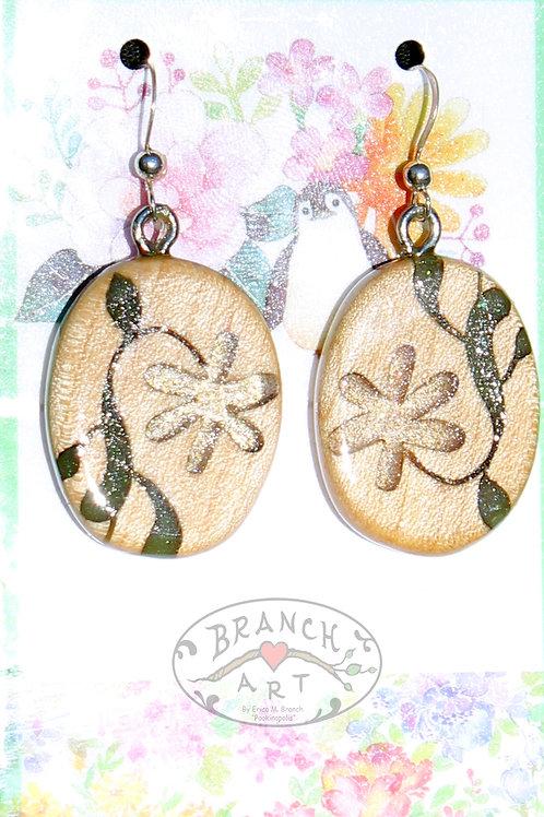 Floral Maple Wood Earrings