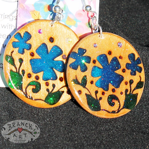 Blue Floral Cherry Wood Earrings