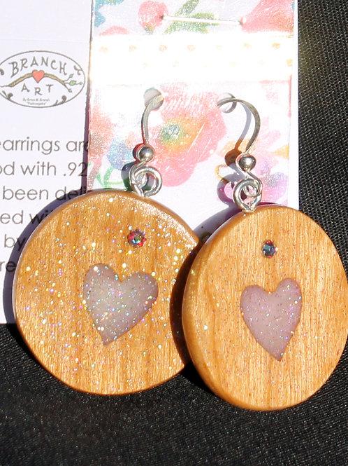 Sweet Heart Cherry Wood Earrings