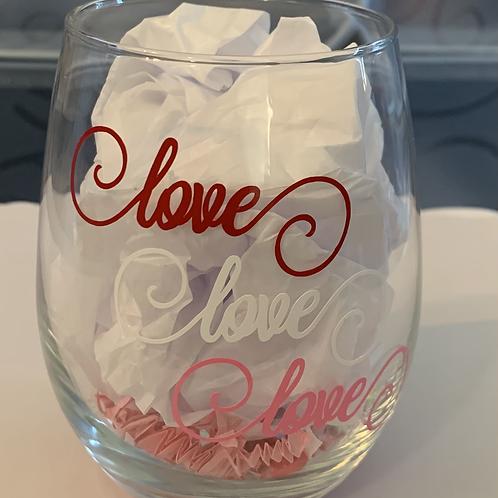Love Love Love Wine Glass