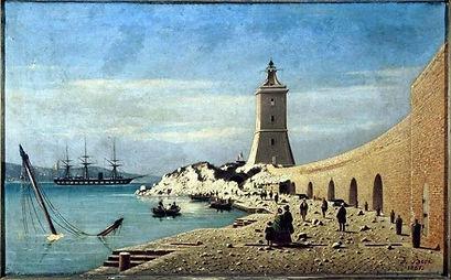 Quadro dipinto stampa lanterna basamento porto lanterna batteria cipelli ancona genova ammiraglio persano