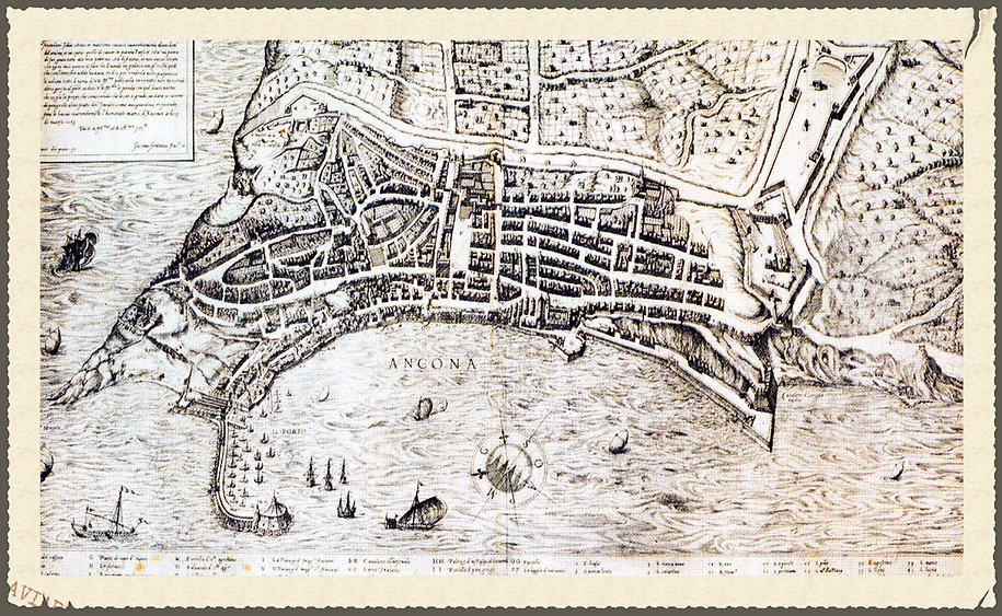 Mappa pianta piantina cartina carta Ancona Giacomo Fontana del 1569