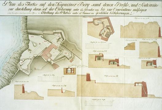 Planimetria austriaca del baluardo del cassero san paolo monte cardeto cappuccini bastione