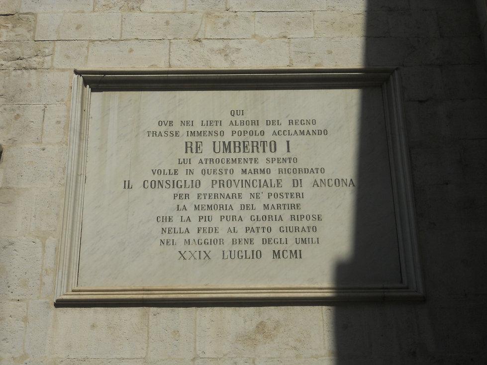Targa Umberto I Arco Amoroso Ancona Prefettura
