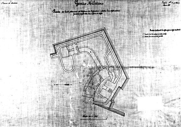 Progetto del 1883 del Genio Militare del baluardo dei cappuccini monte cardeto bastione del cassero