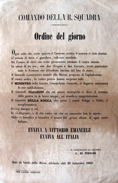 Ammiraglio Persano assedio ancona annessione regno d'italia vittoria manifesto ringraziamento elogio fortezze forti