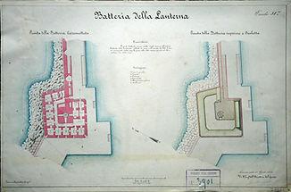 Planimetria del basamento della Lanterna di Ancona ISCAG forte batteria cipelli porto