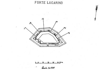 Planimetria Forte Lucarino Ancona a Montacuto