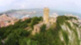 Vecchio faro al Monte Cardeto di Ancona dal drone
