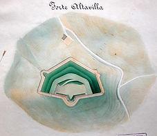 Pianta del forte Altavilla di Ancona in località Pietralacroce, tratta dall'ISCAG, Museo dell'Arma del Genio di Roma. Planimetria esterna