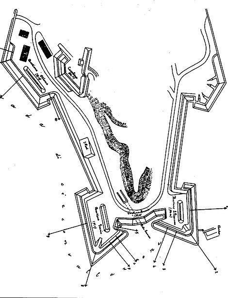 Pianta Planimetria Campo Trincerato Ancona tenaglia
