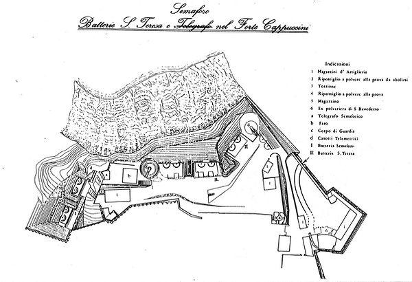 Planimetria del forte Cappuccini alla fine del XIX secolo batteria santa teresa monte cardeto bastione baluardo cassero