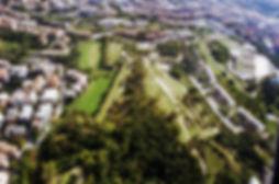 Campo Trincerato della Cittadella di Ancona visto dall'alto di un aereo drone. Oggi è parco pubblico.