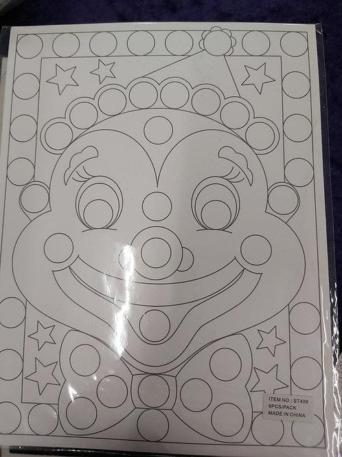 Clown Face Sticker Art- 6 Pack