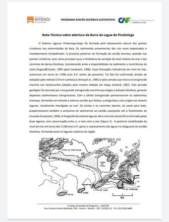 Nota técnica sobre abertura da Barra da Lagoa de Piratininga