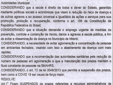 Portaria SMARHS nº001/2020