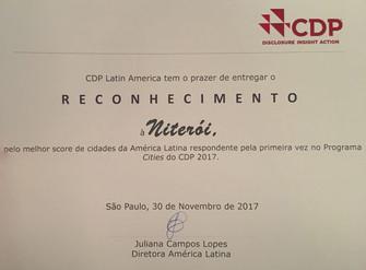 CDP Latin America reconhece Niterói pelo melhor score entre as cidades da América Latina no Programa