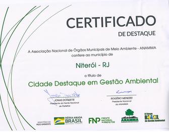Niterói recebe certificado de Cidade Destaque em Gestão Ambiental pela ANAMMA