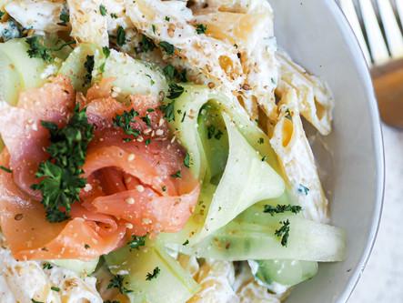 Pâtes à la ricotta-saumon et concombre