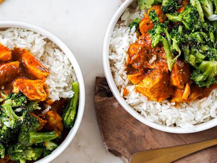 Poulet sauce tikka riz et brocolis