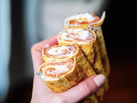 Wrap d'omelette au saumon