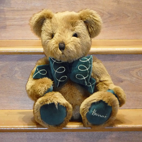 Harrods Big Green and Gold Bow Tie Bear