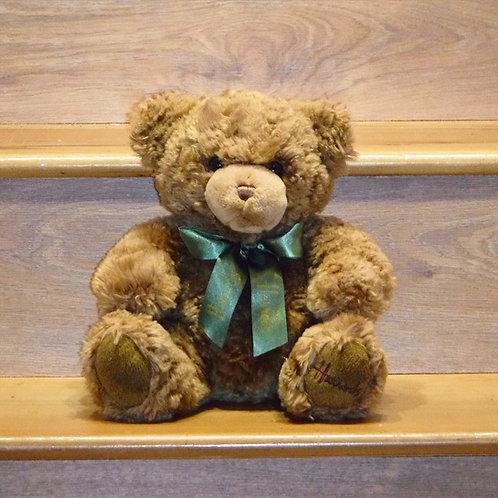 Harrods Bear Green and Gold ribbon bow
