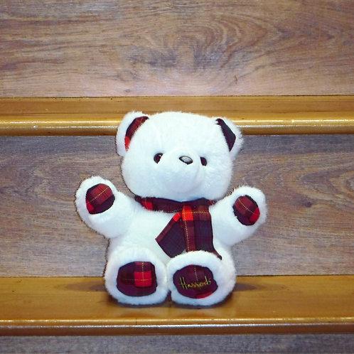 Harrods White Tartan Dressed Bear
