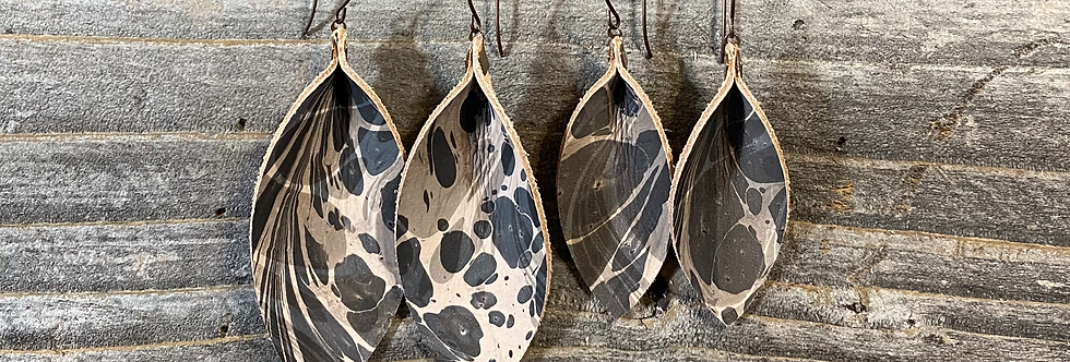Marbled Leather Black/White