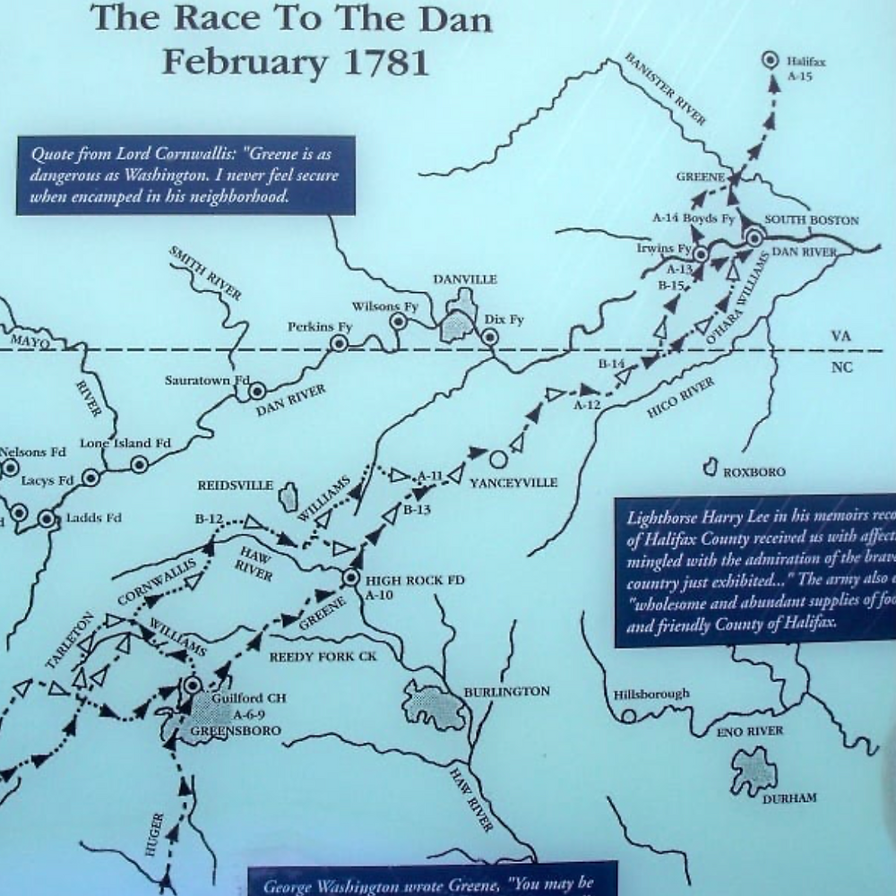 One of the best maps of Greene's retreat to the Dan River with Cornwallis in hot pursuit. Check the scale of miles to understand the extent of this retreat.
