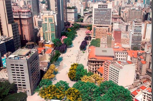 A reforma do Vale do Anhangabaú é somente um dos 34 projetos existentes para a requalificação do Centro da cidade. Foto: Gestão Urbana.