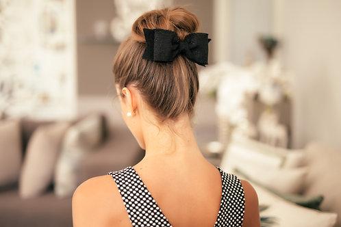 Laço de cabelo Aline em tweed preto