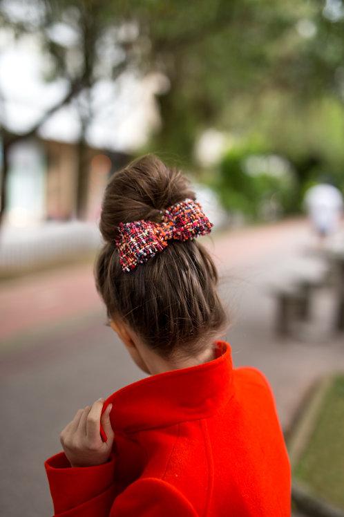 Laço de cabelo Amanda em tweed multicolorido