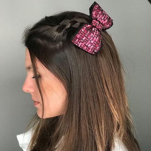 Laço de cabelo Ella em tweed rosa pink