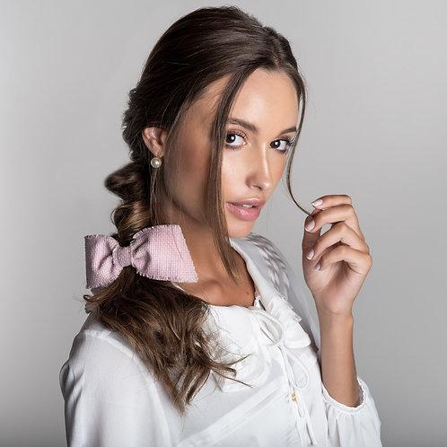 Laço de cabelo Nina em tweed rosé
