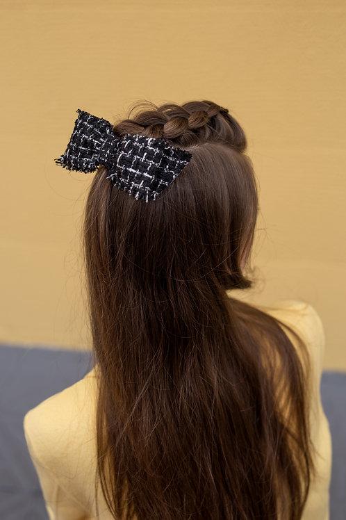 Laço de cabelo Fernanda em tweed xadrez