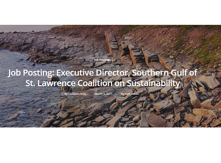 Job Posting: Executive Director, Southern Gulf of St. Lawrence Coalition on Sustainability