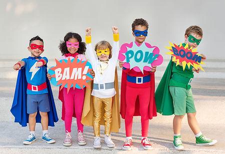 Children dressed up as superheroes