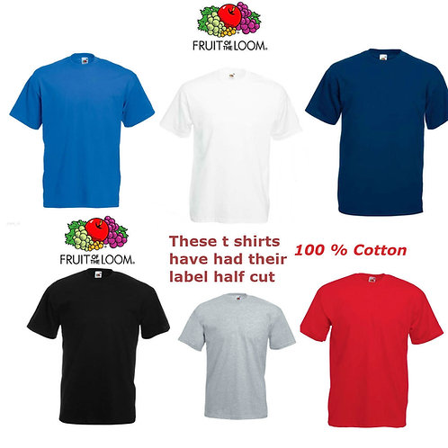 Mens Plain Fruit of the Loom Premium Weight Cotton Round Neck T Shirt Small- 4XL