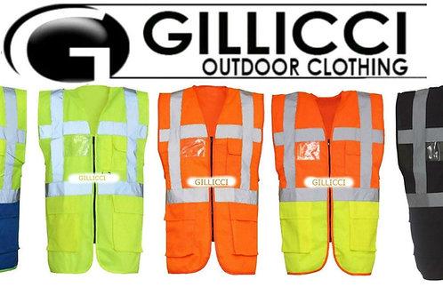 GILLICCI HI HIGH VIZ VIS VISIBILITY WORKWEAR SAFETY ZIP EXECUTIVE VEST JACKET