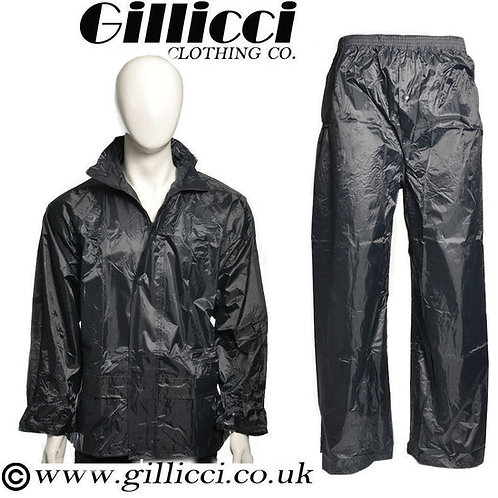 MENS WOMENS UNISEX BLACK OR NAVY 100% WATERPROOF JACKET & TROUSER SET
