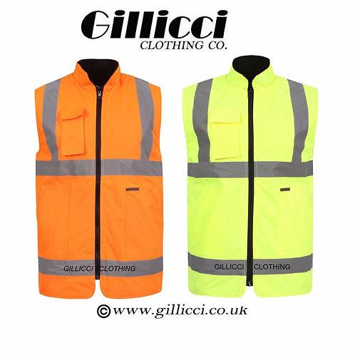 Hi Viz Visibilty Reversible Waterproof Bodywarmer Jacket Warm Mens Workwear