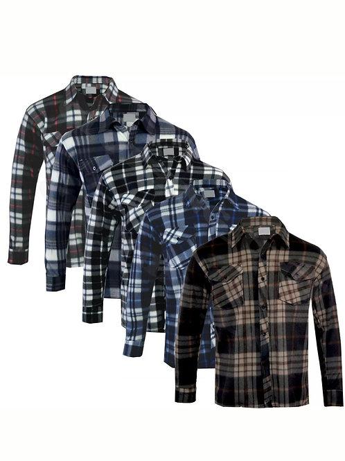 Unisex Fleece Lumberjack Warm Thick Check Flannel Work Casual Work Shirt Top