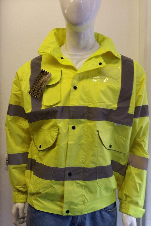 Contractor Plain Mesh Lined Hi Viz High Vis Visibility Bomber Work Jacket Coat