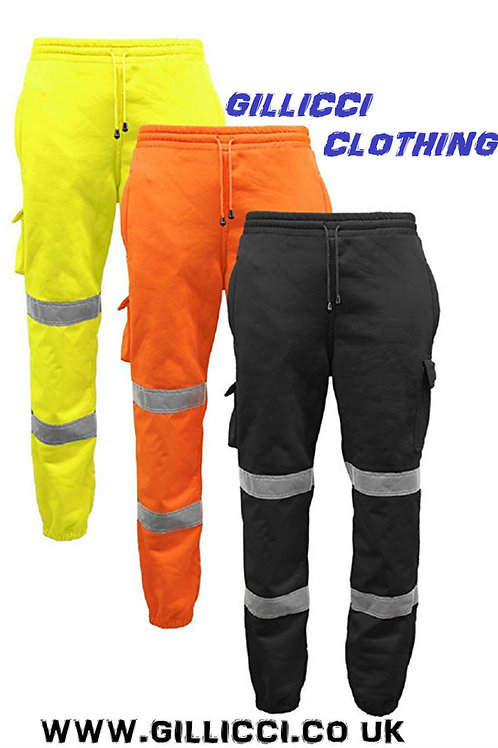HI HIGH VIZ VIS VISIBILITY PPE WORKWEAR SAFETY FLEECE JOGGING BOTTOM TROUSERS
