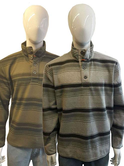 Mens Warm High Collar Buttoned Striped Fleece Long Sleeve Polo Sweatshirt Jumper