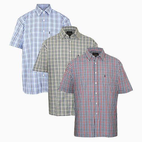 Men Champion Doncaster Short Sleeve Casual Check Hunting Outdoor Yarn Dyed Shirt