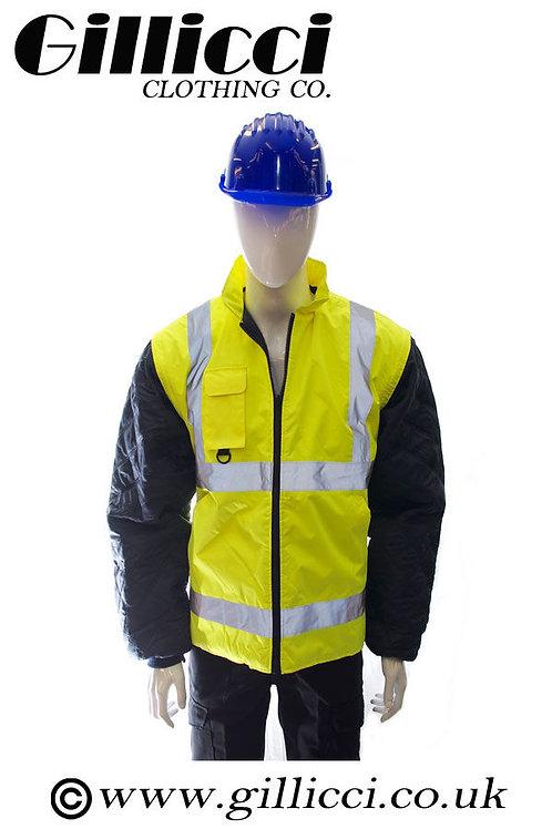 WORKWEAR HI HIGH VIS VIZ VISIBILITY WATERPROOF 3 IN 1 JACKET BODYWARMER COAT